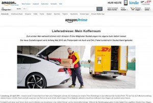 amazon testet die Zustellung an Kofferräume | Screenshot: amazon.de
