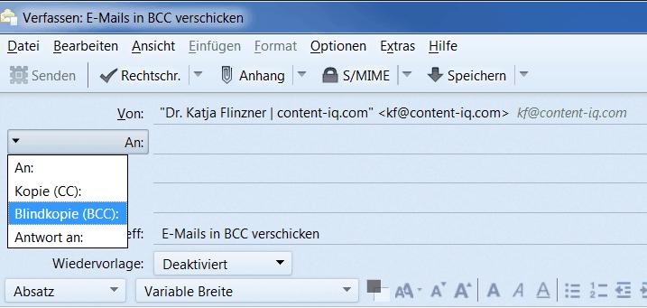 E-Mails per BCC verschicken in Thunderbird