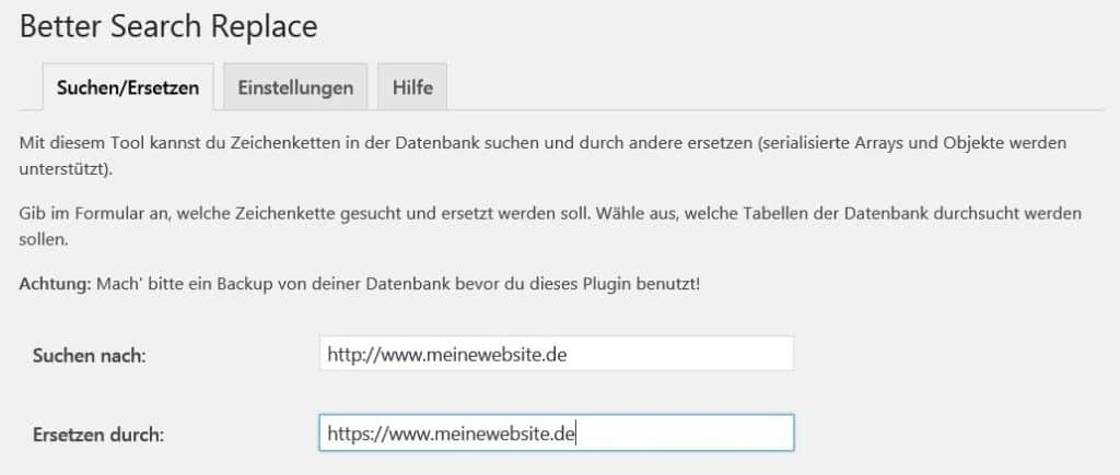 http durch https ersetzen mit Better Search Replace