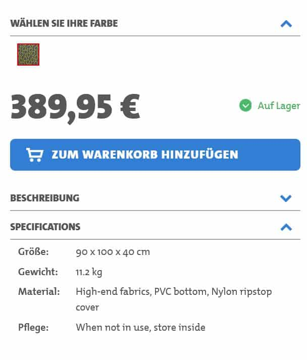 Screenshot: Wählen Sie Ihre Farbe | Auf Lager | Zum Warenkorb hinzufügen | Beschreibung | Specifications | Material: High-end fabrics, PVC bottom, Nylon ripstop cover, Pflege: When not in use, store inside.