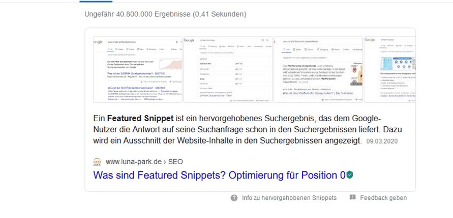Screenshot der alten Featured-Snippet-Darstellung in Google-SERPs