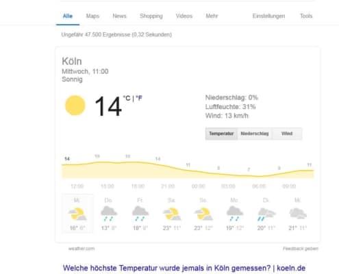 """Wie heiß wird es heute? Googles Antwort auf die Frage """"Höchsttemperatur Köln"""""""