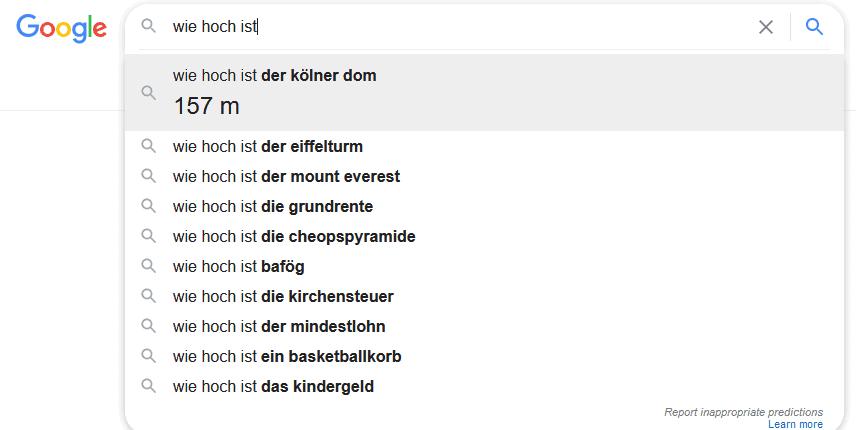 Wie hoch ist.... der Kölner Dom? Die Antwort kommt bei Google schon vor der Frage.