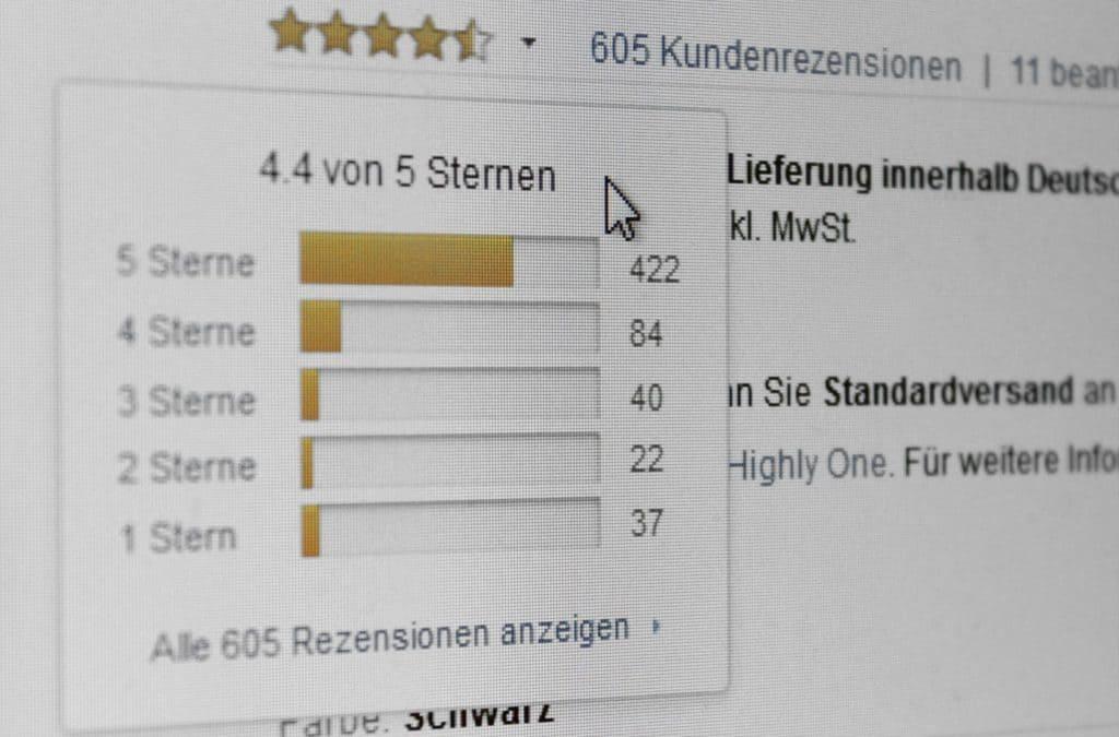 Kundenbewertungen sind ein zentrales Kriterium für die Kaufentscheidung. (Bildschirmfoto: Mike Flinzner | amazon.de)
