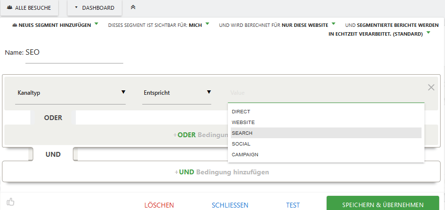 Screenshot Matomo Kanaltyp-Auswahl SEARCH