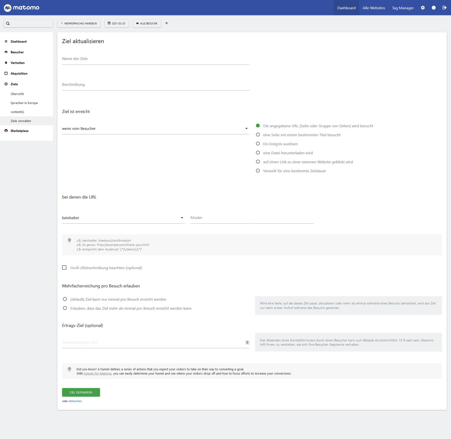 Ziele definieren im Matomo-Dashboard
