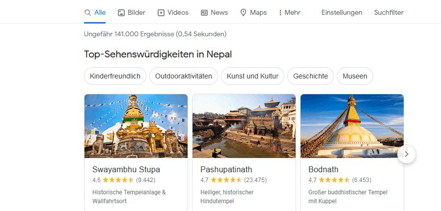 Rich Cards in den SERPs: Reisetipps und Top-Sehenswürdigkeiten in Nepal