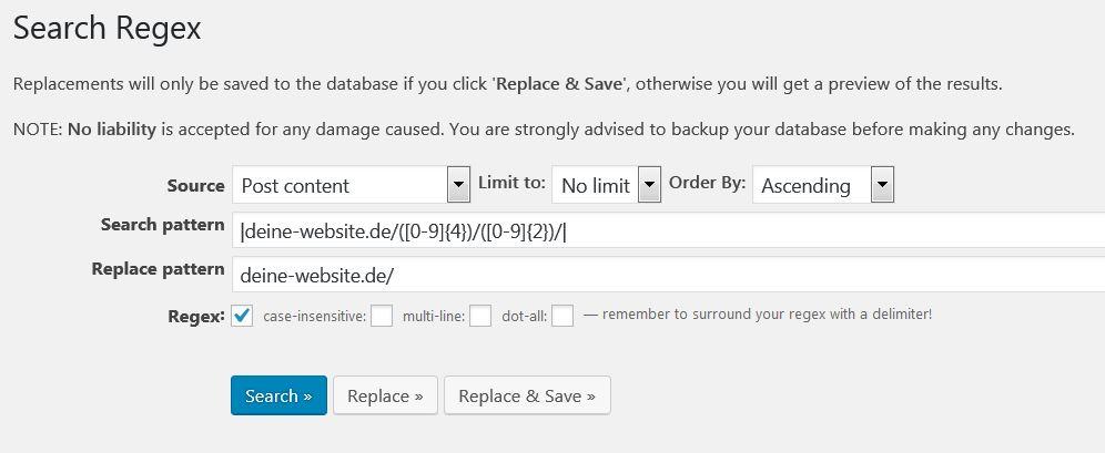 Search Regex: Sucht und ersetzt reguläre Ausdrücke in der WordPress-Datenbank.