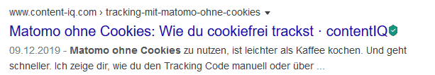 Neues SERP-Snippet ohne Favicon