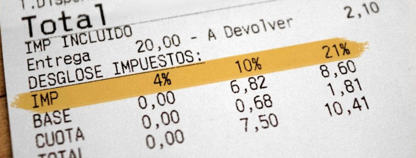 Verschiedene Umsatzsteuersätze auf einem spanischen Kassenbon