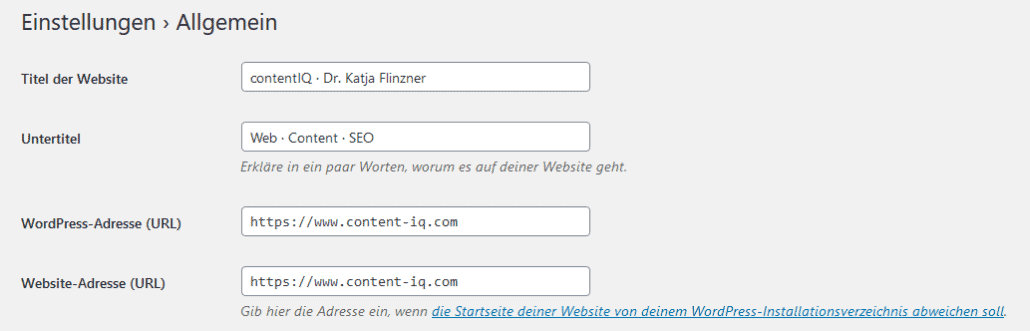 Screenshot: HTTPS-Adressen in WordPress eingeben