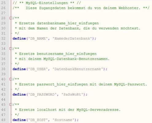 Datenbankkonfiguration in der wp-config.php