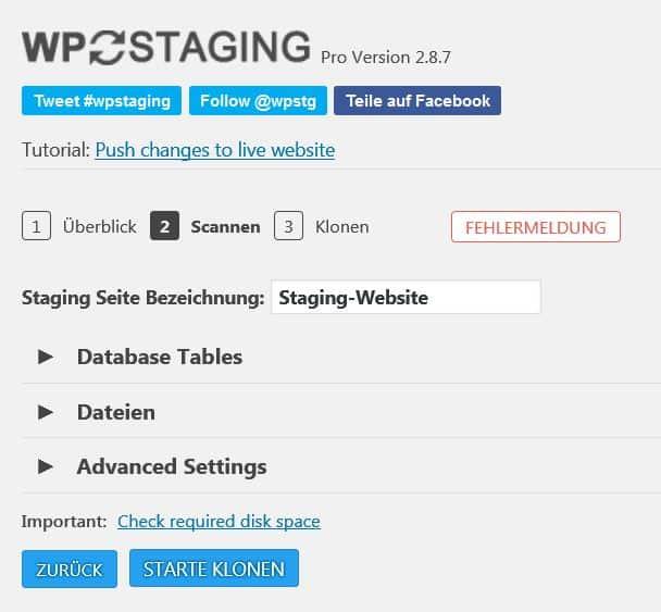 Mit WP Staging eine neue Staging-Umgebung anlegen
